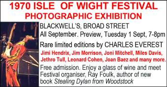 1970 Isle of Wight Festival Photography Exhibition at Blackwell's Bookshop. Preview Tuesday 1st September