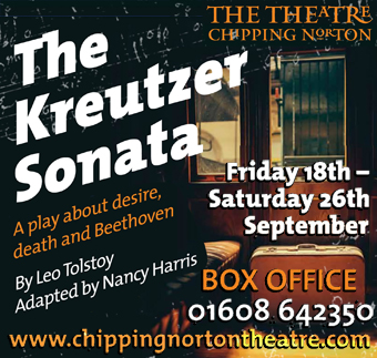 Chipping Norton Theatre presents The Kreutzer Sonata by Leo Tolstoy, adapted by Nancy Harris. 18-26 September 2015