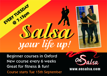 Salsa up your life, every Tuesday at 7.15pm with OnSalsa beginners courses in Oxford