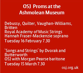 Orchestra of St John's Proms at the Ashmolean Museum, Tue 15 Feb & Tue 15 Mar