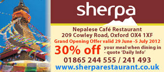 Sherpa Restaurant - new Nepalese cafe @ 209 Cowley Road, opening June 2012