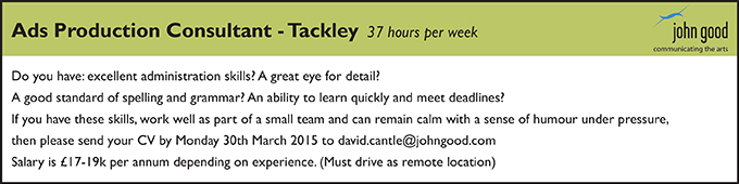 John Good Design are looking for an Ads Production Consultant in Tackley