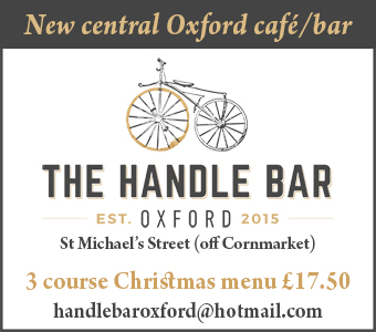 New central Oxford bar/caf�, The Handle Bar. Now taking Christmas bookings, �17.50