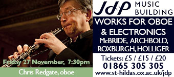 Jacqueline du Pr� Music Building presents Works for Oboe and Electronics, Friday 27 November 2015
