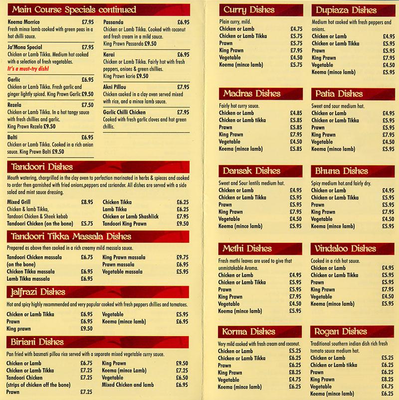 List Reviews Services >> Daily Info, Oxford - Jamona Indian takeaway Menu.