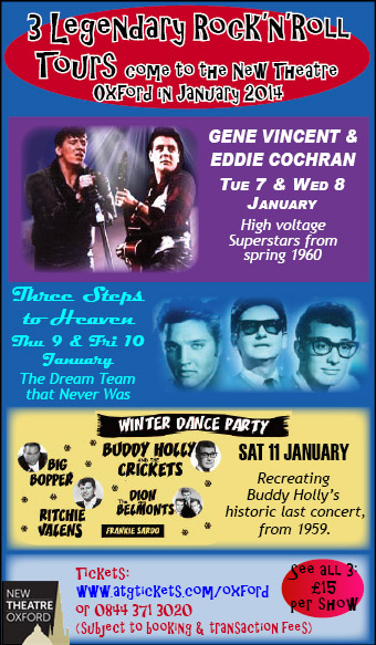 3 Legendary Rock'n'Roll Tours come to New Theatre, 7 - 11 January. Legendary concerts recreated.