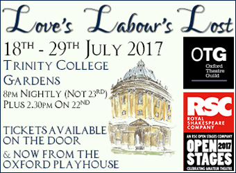 See Oxford Theatre Guild's Love's Labour's Lost this summer