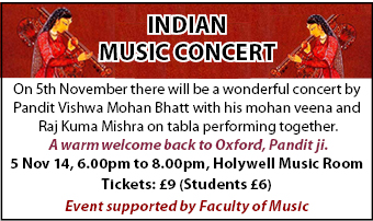 Indian Music concert 5/11 Holywell Music Rooms
