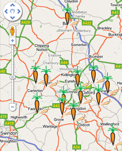 Daily Info's Map of Oxfordshire Farm Shops