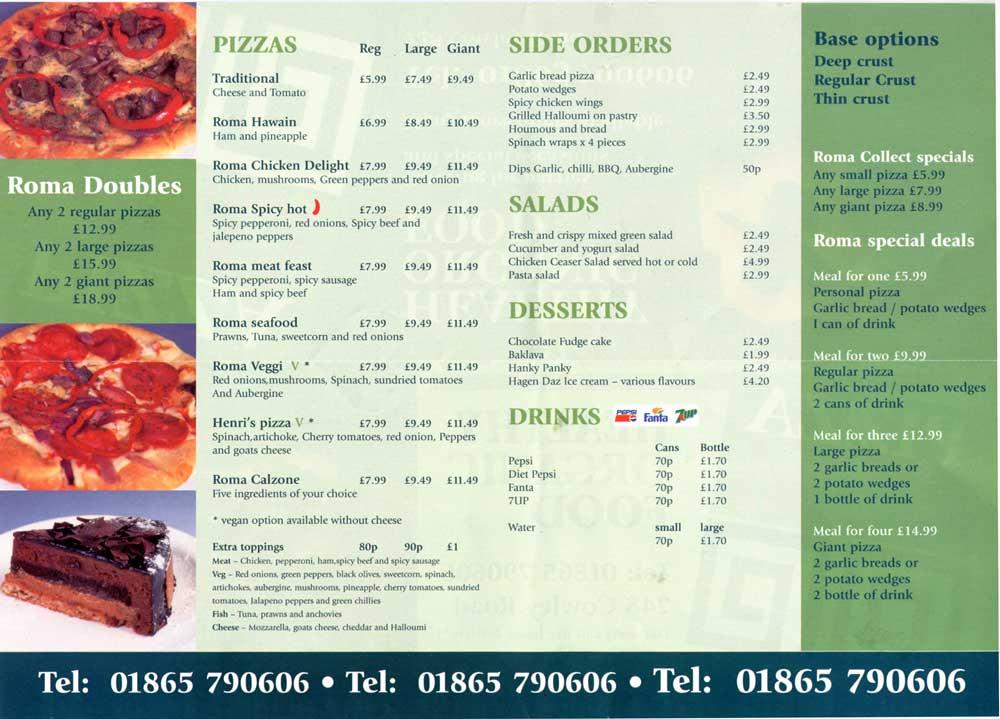 Pizza Roma 248 Cowley Road Oxford