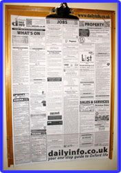 Daily Info sheet display board: silver. Click for big picture!